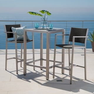 Cape Coral Outdoor 3 Piece Bar Set With Glass Table Top By Christopher  Knight Home