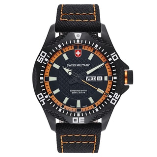 Swiss Military Men's Tank 27431 Black and Orange Canvas Stitching Strap With Black Dial Watch