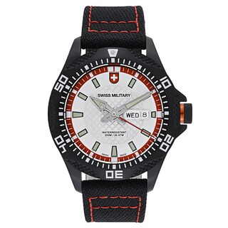 Swiss Military Tank Men's Black Red Stitching Strap with Silver Dial Canvas Watch - Black/Red