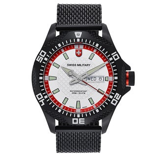 Swiss Military Tank Men's Black Strap with Silver Dial Stainless-steel Black PVD-coated Watch
