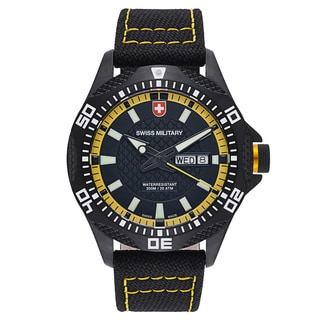 Swiss Military Tank 27441 Men's Black Yellow Stitching Strap with Black Dial Canvas Watch