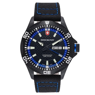 Swiss Military Tank 27421 Men's Black Blue Stitching Strap with Black Dial Canvas Watch