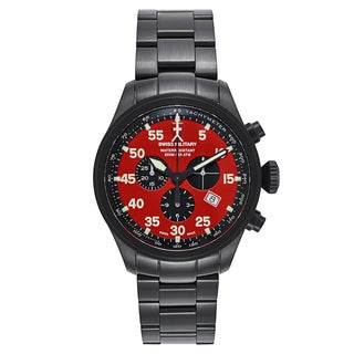 Swiss Military Hawk Black Strap and Red Dial PVD-coated Stainless Steel Men's Watch