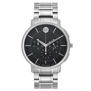 Movado TC Men's 0606886 Black Dial and Silver-Tone Stainless Steel Strap Watch