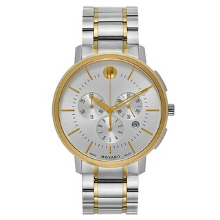 Movado Men's TC 0606887 Silvertone/Goldtone Strap Silvertone Dial Stainless Steel/Yellow Gold PVD-coated Watch