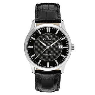 Charmex Men's La Tremola Black Strap with Black Dial Leather Watch