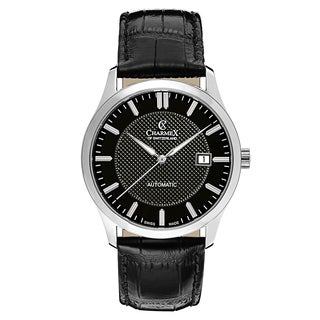 Charmex Men's La Tremola 2646 Black Strap with Black Dial Leather Watch