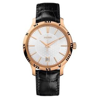 Balmain Men's B40693226 Classica Black Leather Strap Silvertone Dial Watch