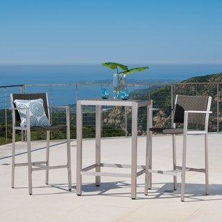 Link to Cape Coral Outdoor 3-piece Wicker Bar Set with Wicker Table Top by Christopher Knight Home Similar Items in Outdoor Dining Sets
