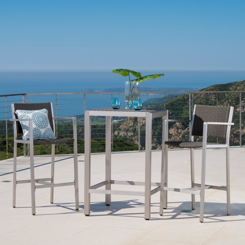 Cape Coral Outdoor 3-piece Wicker Bar Set with Wicker Table Top by Christopher Knight Home