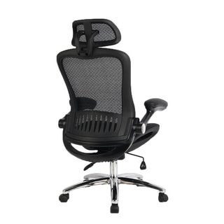 Viva Office Black Mesh High-back Executive Chair With Adjustable Headrest and Flip-up Arms