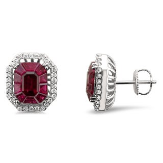 18k White Gold 4 3/8ct TGW Ruby and 2/5ct TDW Diamond Halo Earring Studs (H-I, VS2)