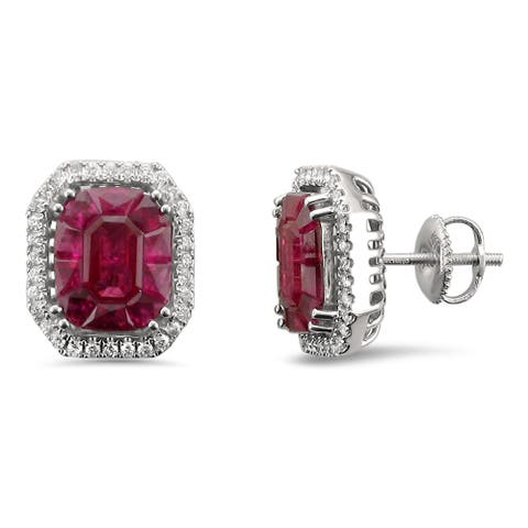 Montebello 18KT White Gold 4 3/8ct TGW Ruby and Diamond Stud Earring