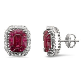 18k White Gold 4 3/8ct TGW Ruby and 1/3ct TDW Diamond Halo Earring Studs (H-I, VS2)