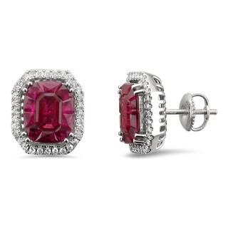 18k White Gold 4 3/8ct TGW Ruby and 1/3ct TDW Diamond Halo Earring Studs (H-I, VS2)