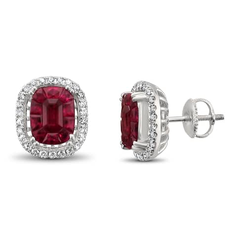 Montebello 18KT White Gold 5 1/2ct TGW Ruby and Diamond Stud Earring