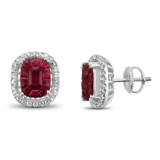 Montebello Jewelry 18k White Gold 5 1/2ct TGW Ruby and 2/5ct TDW Diamond Halo Earring Studs (H-I, VS2)