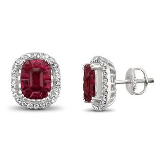 Montebello Jewelry 18k White Gold 5 1/2ct TGW Ruby and 2/5ct TDW Diamond Halo Earring Studs (H-I, VS2)