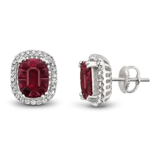Montebello Jewelry 18k White Gold 5 1/2ct TGW Ruby and 1/3ct TDW Diamond Halo Earring Studs (H-I, VS2)