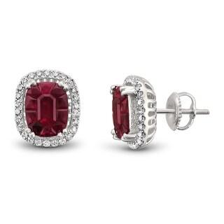 Montebello Jewelry 18k White Gold 5 1/2ct TGW Ruby and 1/3ct TDW Diamond Halo Earring Studs (H-I, VS2)