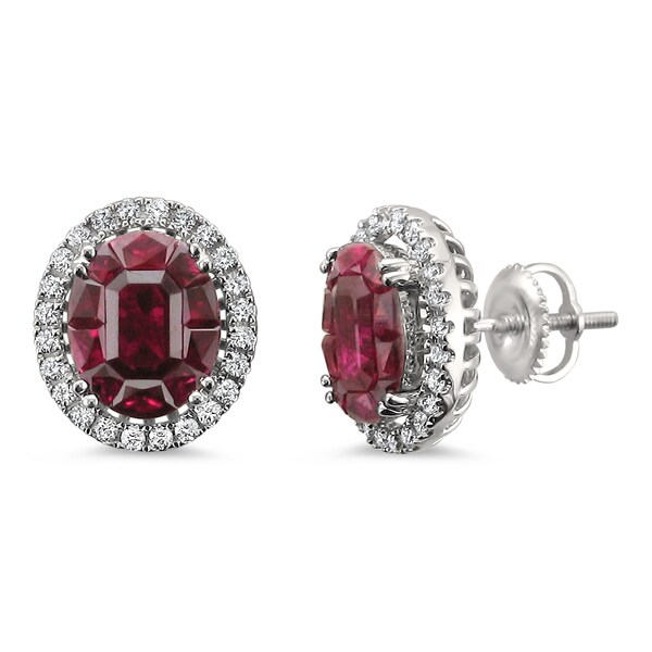 Montebello 18KT White Gold 5 1/2ct TGW Ruby and Diamond Stud Earring. Opens flyout.