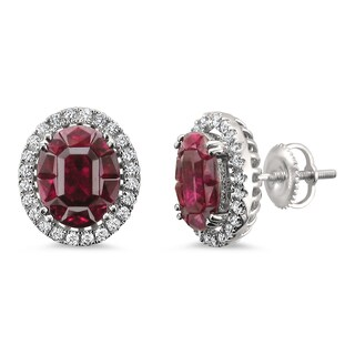 Montebello Jewelry 18k White Gold 5 1/10ct TGW Ruby and 2/5ct TDW Diamond Halo Earring Studs (H-I, VS2)