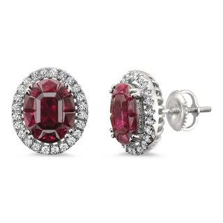 Montebello Jewelry 18k White Gold 5 1/10ct TGW Ruby and 2/5ct TDW Diamond Halo Earring Studs (H-I, VS2)