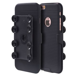 Insten Black Hard Snap-on Dual Layer Hybrid Case Cover with Suction Holster For Apple iPhone 6 Plus/ 6s Plus