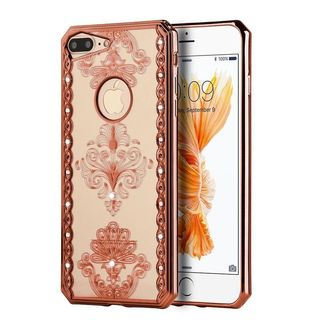 Insten Royal Floral TPU Rubber Candy Skin Case Cover with Diamond For Apple iPhone 7 Plus