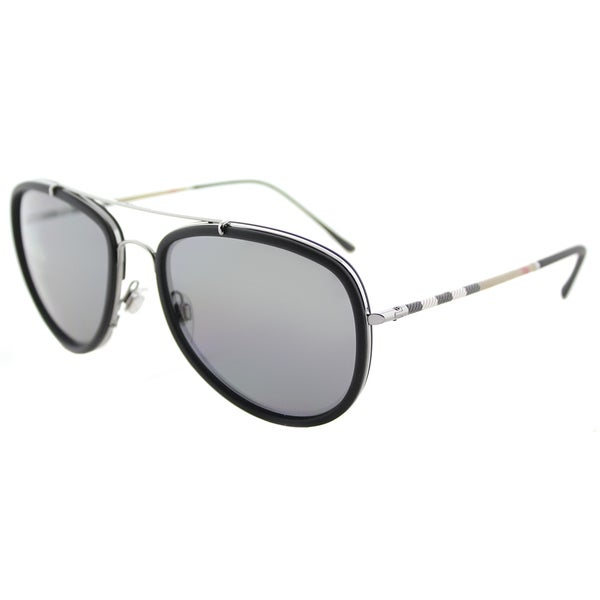 2013f1f1931 Burberry BE 3090Q 1003T8 Matte Black Gunmetal Metal Aviator Sunglasses Grey  Polarized Lens