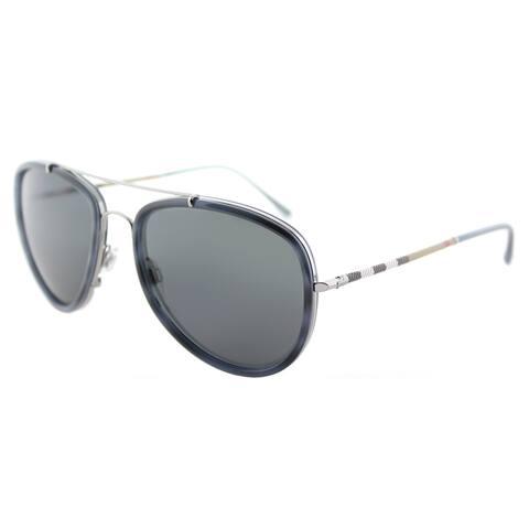 Burberry BE 3090Q 100887 Blue Havana Brushed Gunmetal Metal Aviator Sunglasses Grey Lens