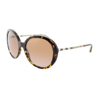 Burberry BE 4239Q 300213 Dark Havana Plastic Round Sunglasses Brown Gradient Lens
