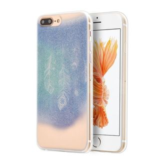 Insten Blue/ White Dancing feather TPU Rubber Candy Skin Case Cover For Apple iPhone 7 Plus