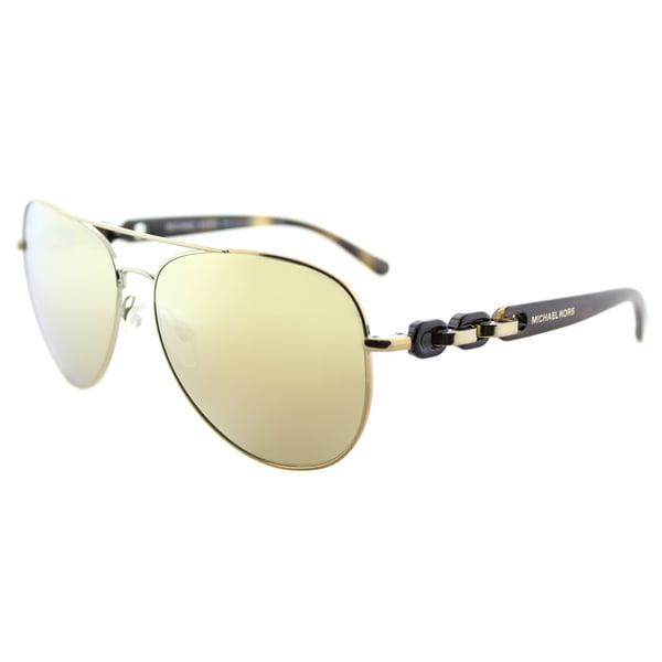 c93519f571f Michael Kors MK 1015 11297P Pandora Gold Tone Metal Aviator Sunglasses  Liguid Gold Mirror Lens