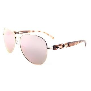 Michael Kors MK 1015 1130R1 Pandora Rose Gold Tone Metal Aviator Sunglasses Rose Gold Flash Mirror Lens