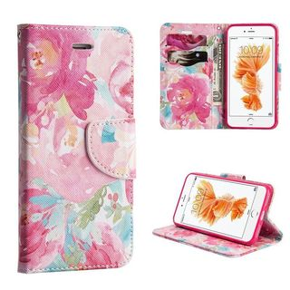 Insten Pink Floral Leather Case Cover with Stand/ Wallet Flap Pouch For Apple iPhone 7