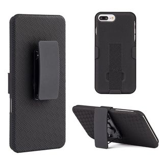 Insten Black Hard Snap-on Rubberized Matte Case Cover with Stand/ Holster For Apple iPhone 7 Plus