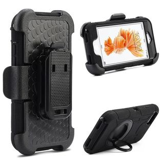 Insten Black Hard Snap-on Dual Layer Hybrid Case Cover with Ring stand/ Holster For Apple iPhone 7 Plus
