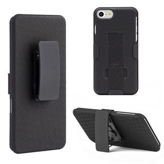 Insten Black Hard Snap-on Rubberized Matte Case Cover with Stand/ Holster For Apple iPhone 7