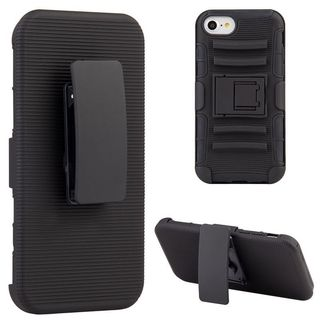 Insten Black Hard PC/ Silicone Dual Layer Hybrid Case Cover with Stand/ Holster For Apple iPhone 7