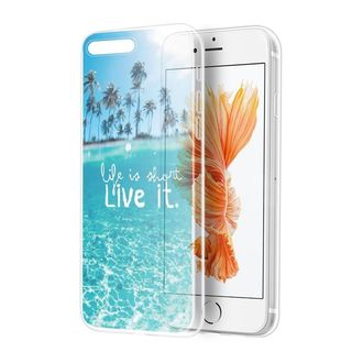 Insten Blue/ Clear Paradise love TPU Rubber Candy Skin Case Cover For Apple iPhone 7 Plus
