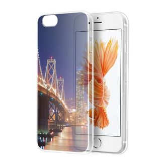 Insten Blue/ Clear City view TPU Rubber Candy Skin Case Cover For Apple iPhone 7 Plus