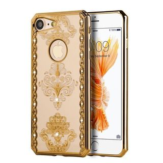 Insten Gold/ Clear Royal Floral TPU Rubber Candy Skin Case Cover with Diamond For Apple iPhone 7
