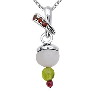 Orchid Jewelry 925 Sterling Silver 6 1/2 Carat Multi Gemstones Pendant Necklace