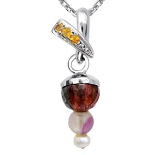 Orchid Jewelry 925 Sterling Silver 6 5/7 Carat Multi Gemstones and Cultured Pearl Pendant Necklace