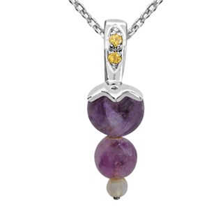 Orchid Jewelry 925 Sterling Silver 4 1/2 Carat Multi Gemstones Pendant Necklace