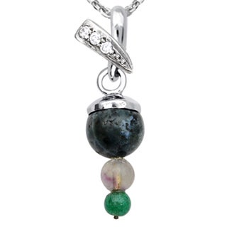 Orchid Jewelry 925 Sterling Silver 7 1/7 Carat Multi Gemstones and Cubic Zirconia Pendant Necklace