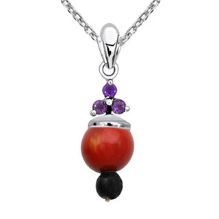 Orchid Jewelry 925 Sterling Silver 8 1/3 Carat Multi Gemstones Pendant Necklace