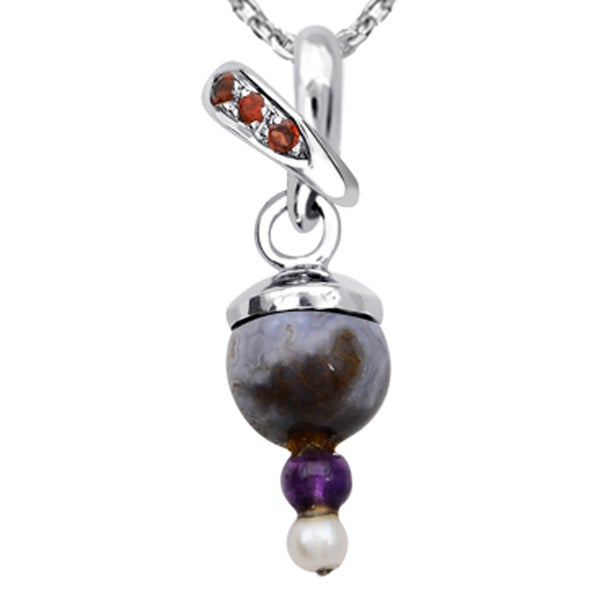 Orchid Jewelry 925 Sterling Silver 5 6/7 Carat Multi Gemstones and Cultured Pearl Pendant Necklace
