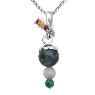 Orchid Jewelry 925 Sterling Silver 6 4/5 Carat Multi Gemstones Pendant Necklace